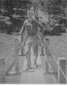 Here is a happier Carl Bonde, probably on a footbridge in Montana.