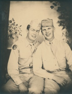 My Uncle's friend, Bill Moomey, was delighted to see this photo of his platoon sergeant, Irvin Weaver, of the weapons platoon, Company E, 262nd Infantry Regiment, and his friend Carl Bonde.
