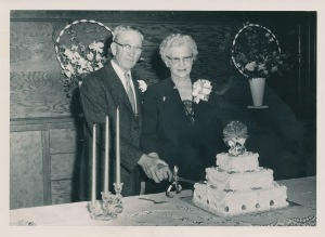 Golden wedding anniversary in 1957 of Carl T. and Ellen Bonde in Kalispell