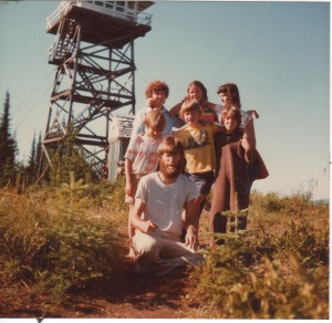 At Indian Mountain L.O.  My sister Carol, daughter Beth Angel Rohrer, Diane Judd Sinclair and our three: Bob, Clara and Todd. I'm in front.   Note that one kid is wearing his pajamas.  Penny must be the photographer.