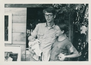 Tom Struckman and Dana Graham with their newborn daughter, Hannah Banana in 1971 probably in NW Montana.