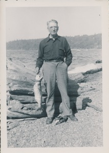 Carl T. Bonde caught a king salmon when he went with his son-in-law, Norman B. Ackley, probably out of Port Angeles, Washington.